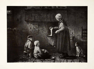 1924 Print Pancake Making Josef Israels Dutch Painter Woman Children Dog XAG7