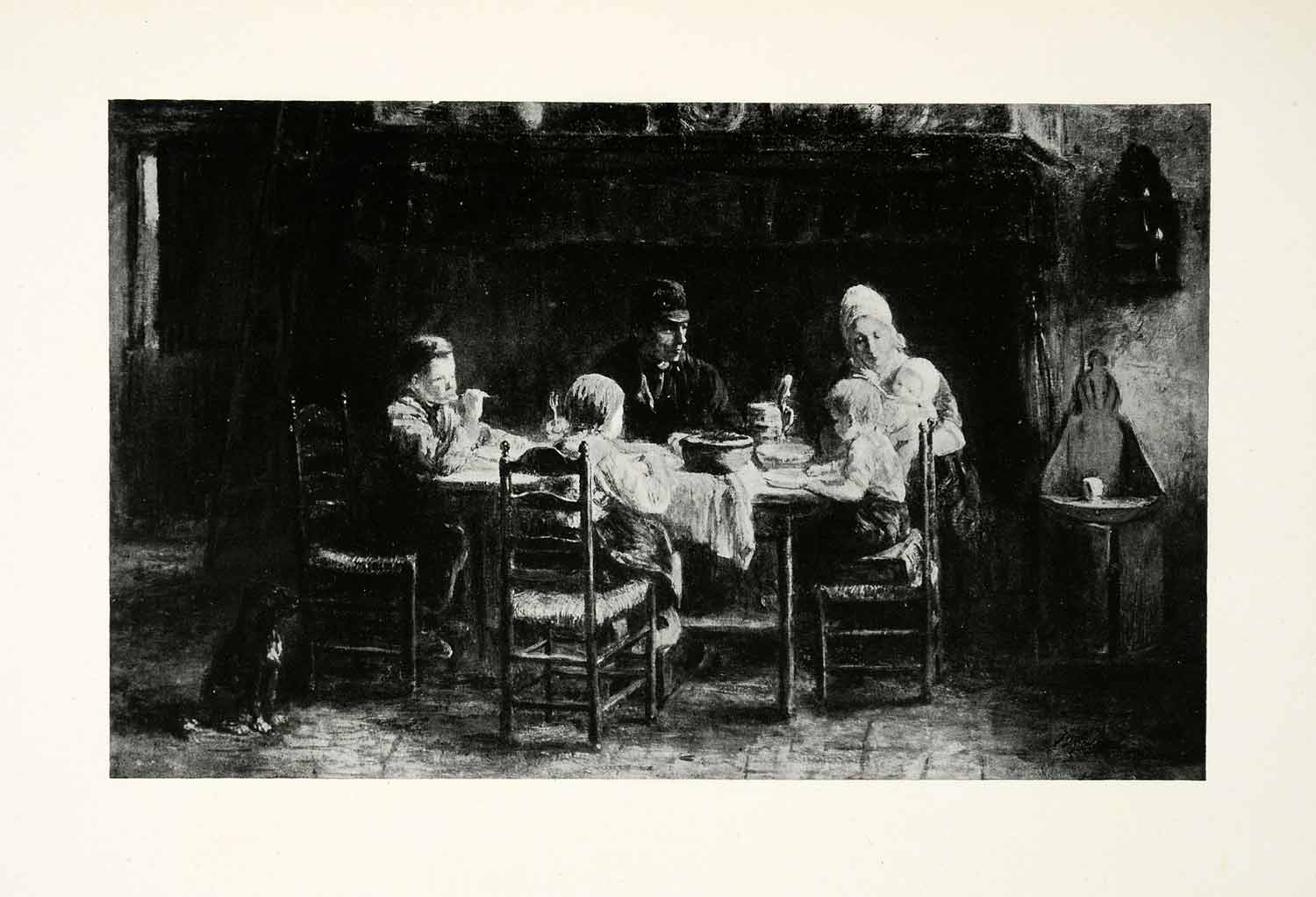 1924 Print Family Meal Josef Israels Dutch Painter Mother Father Children XAG7