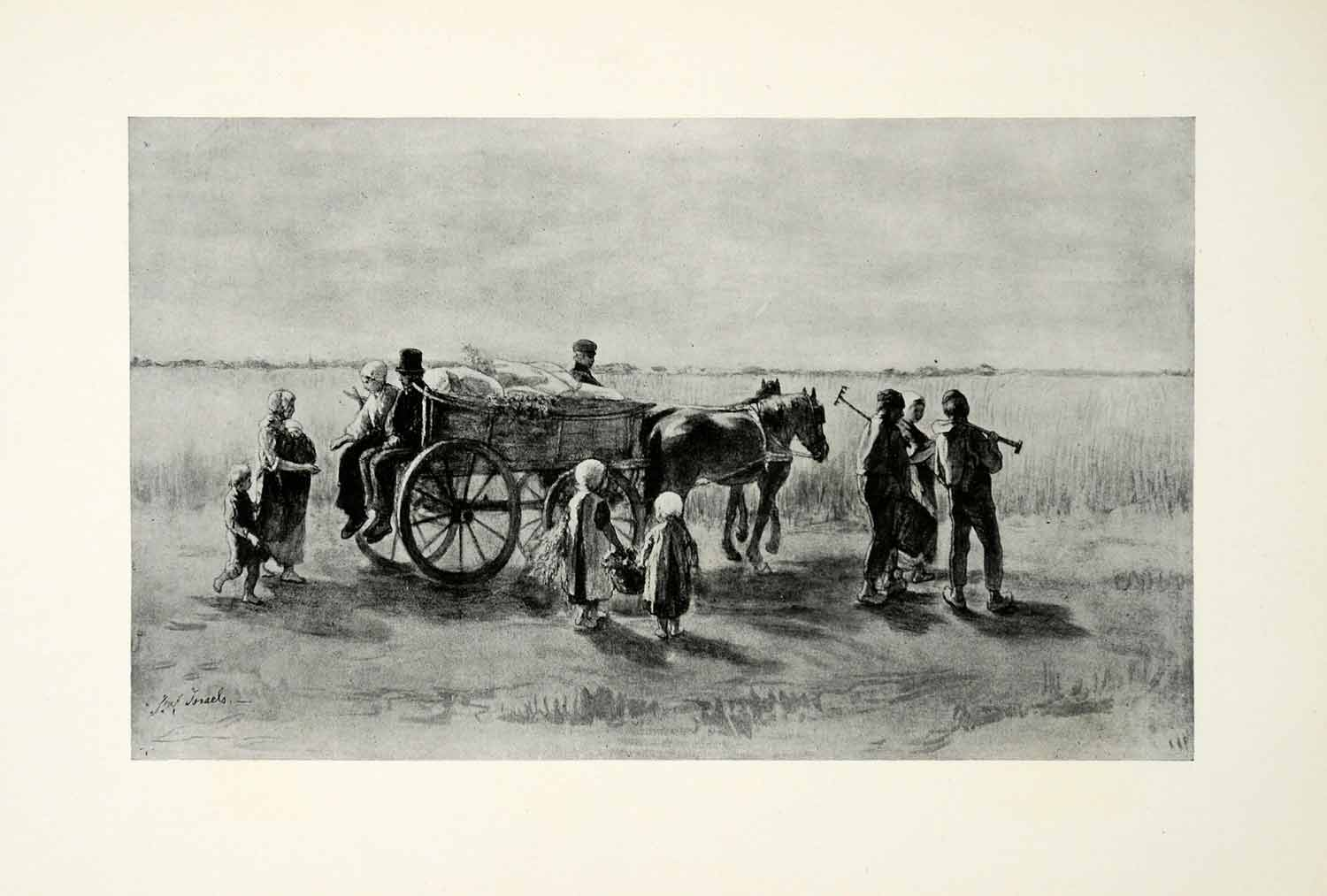 1924 Print Returning From Fields Josef Israels Dutch Painter Workers XAG7