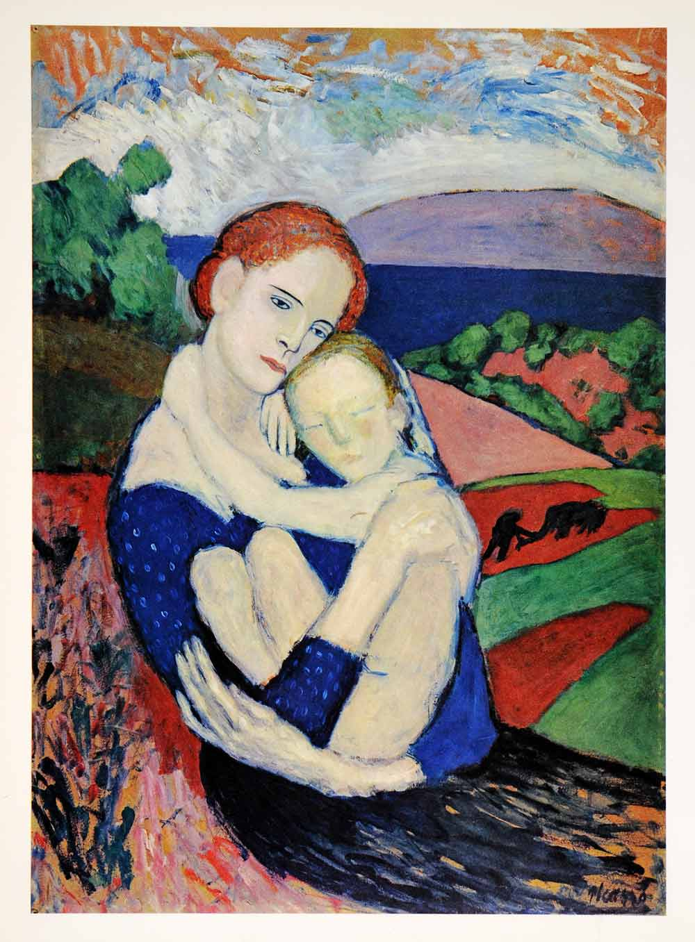 1965 Print Pablo Picasso Mother Child Portrait Woman Abstract Art Blue Period