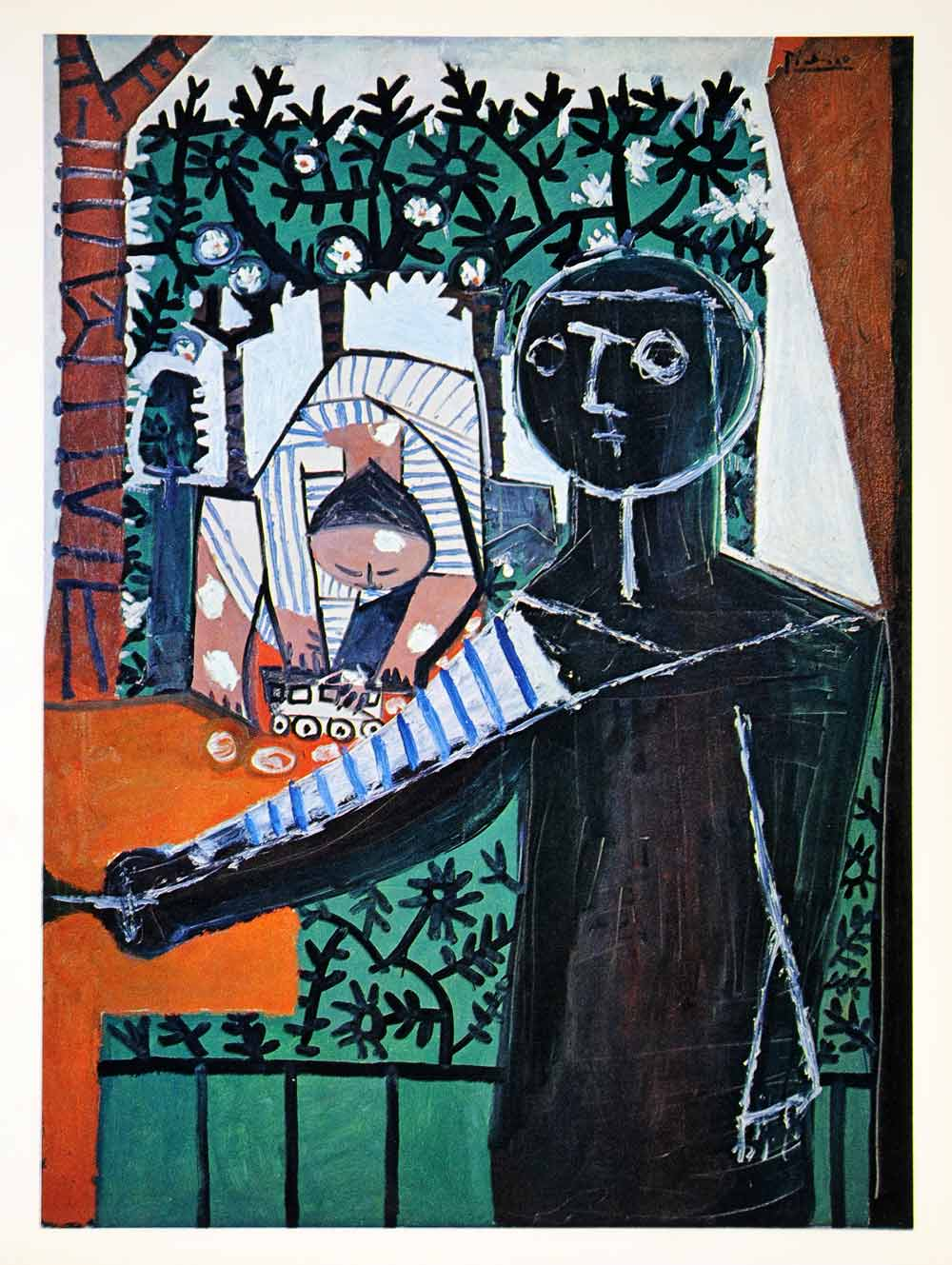 1965 Print Pablo Picasso Figures Garden Window Outdoors Silhouette Abstract Art