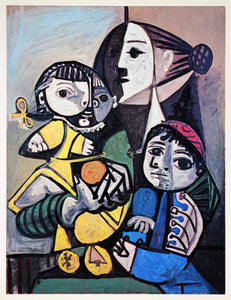 1965 Print Pablo Picasso Mother Children Orange Family Portrait Abstract Art