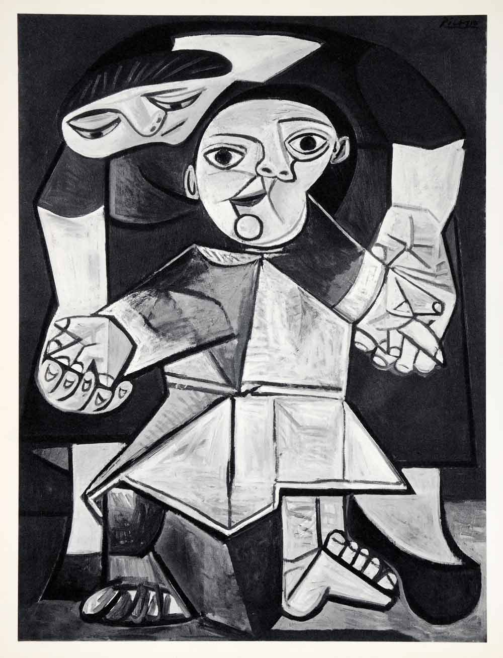 1965 Print Pablo Picasso First Steps Toddler Child Infant Mother Abstract Art