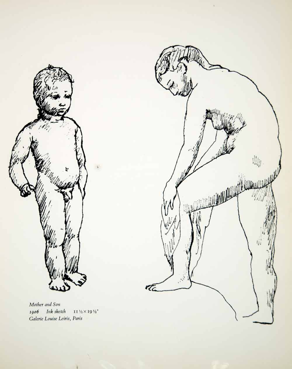 1965 print pablo picasso mother child son nude naked figures art ink s period paper