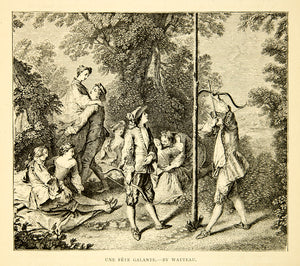 1877 Wood Engraving Watteau Fete Galante Party Bow Arrow Aristocrats XAGA1