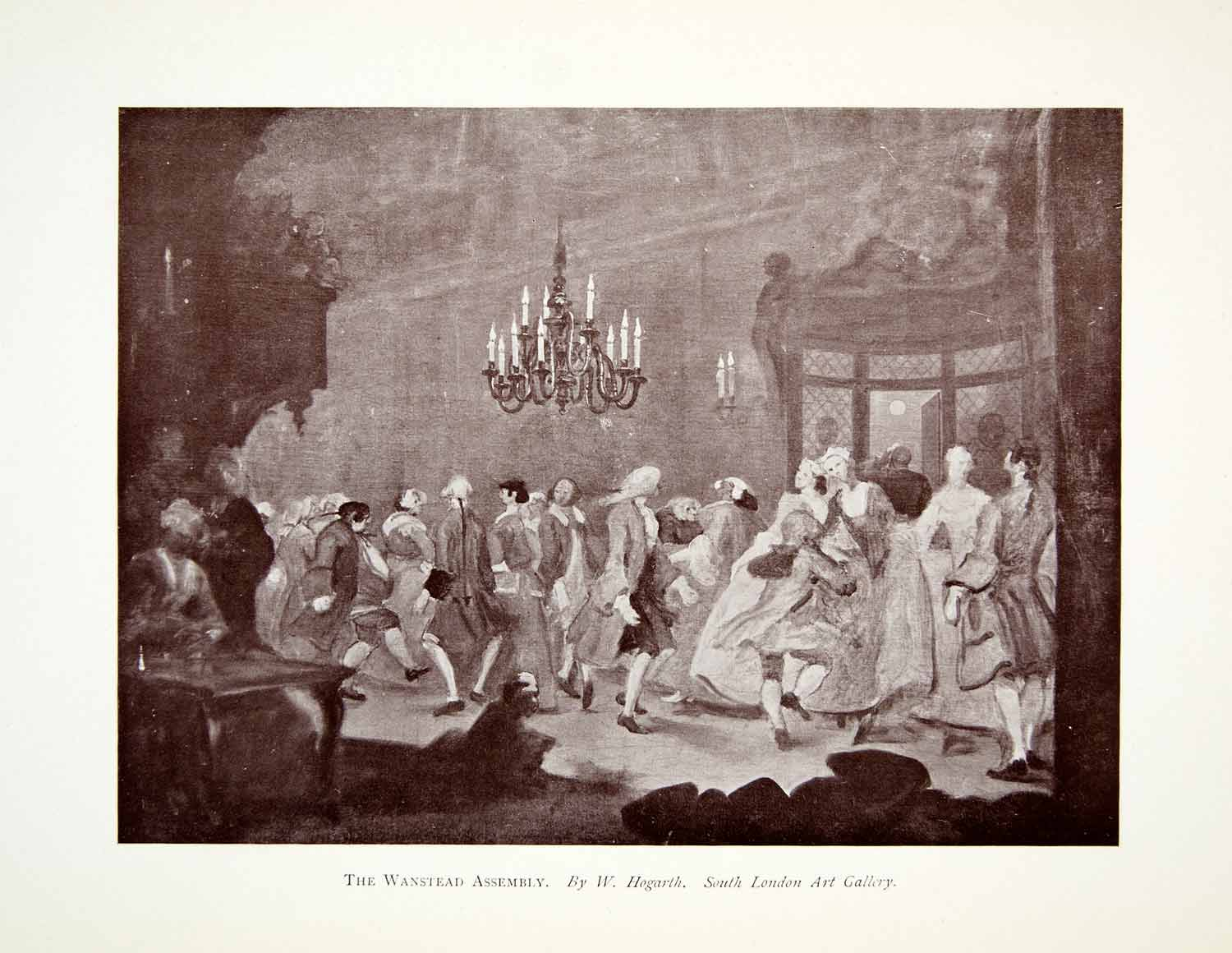 1907 Print Wanstead Assembly William Hogarth Dance Ballroom Fashion XAGA3