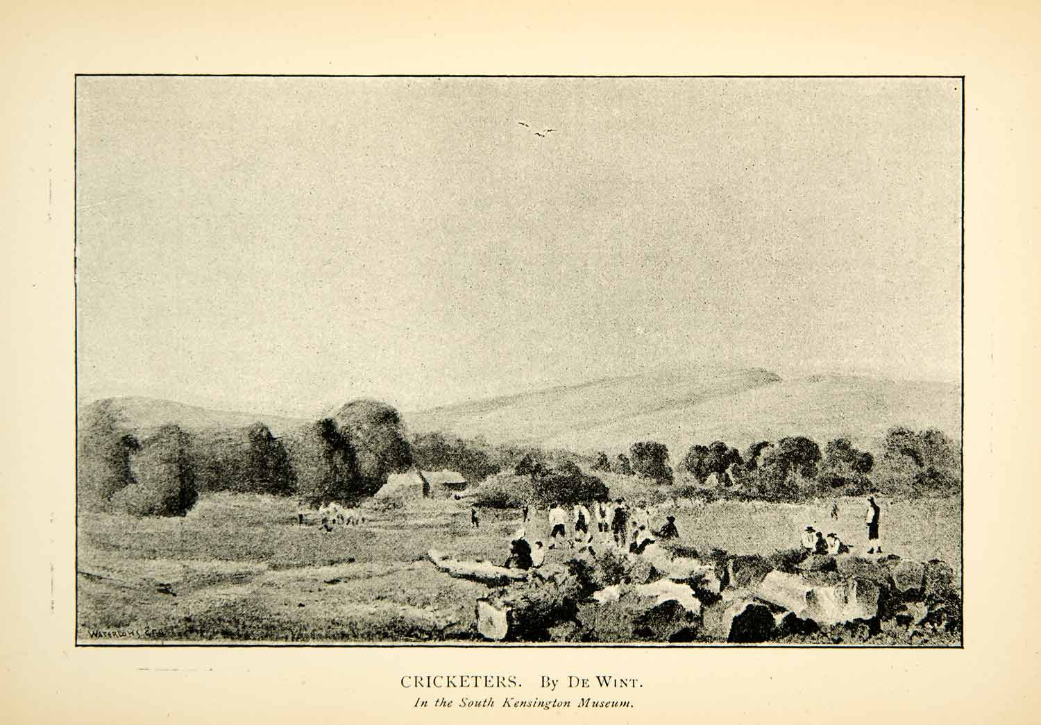 1891 Print Cricketers Peter De Wint English Countryside Landscape Sport XAGA4