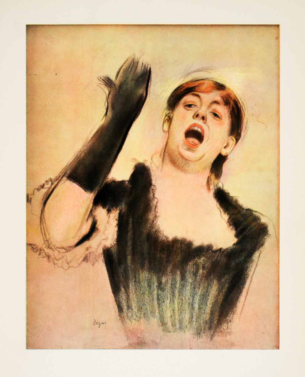 1953 Photolithograph Performer Cafe Concert Portrait Edgar Degas Watercolor XAH8
