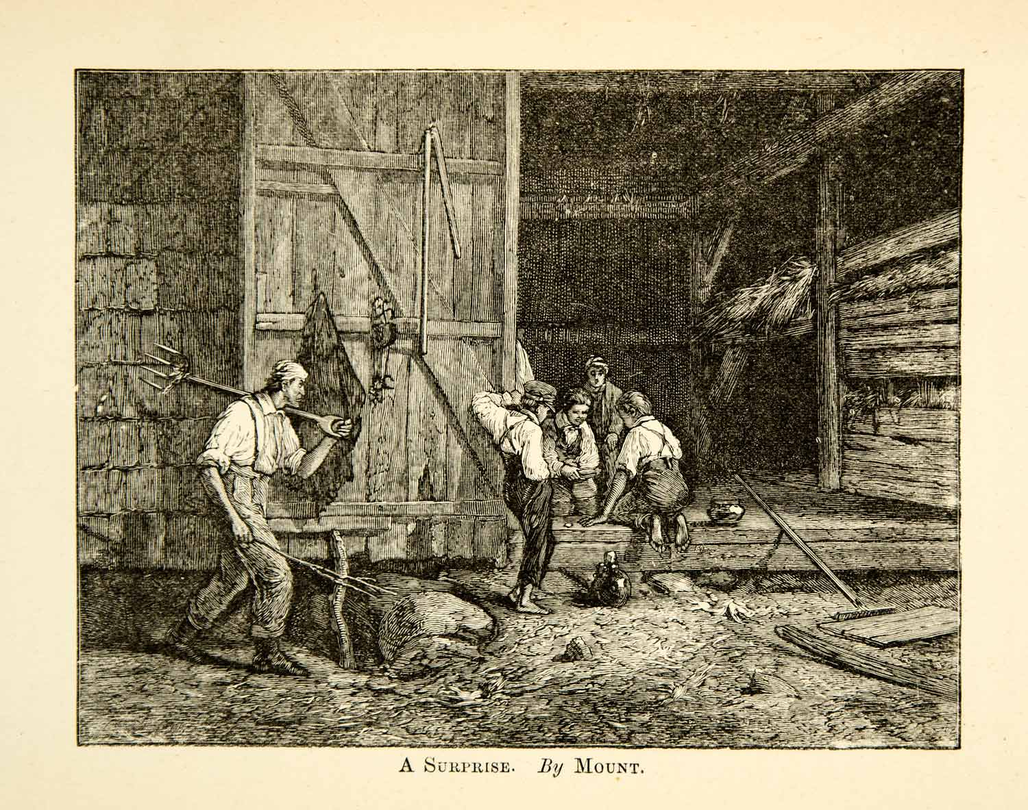 1883 Wood Engraving Surprise William Sidney Mount Scene Barn Family XAHA2