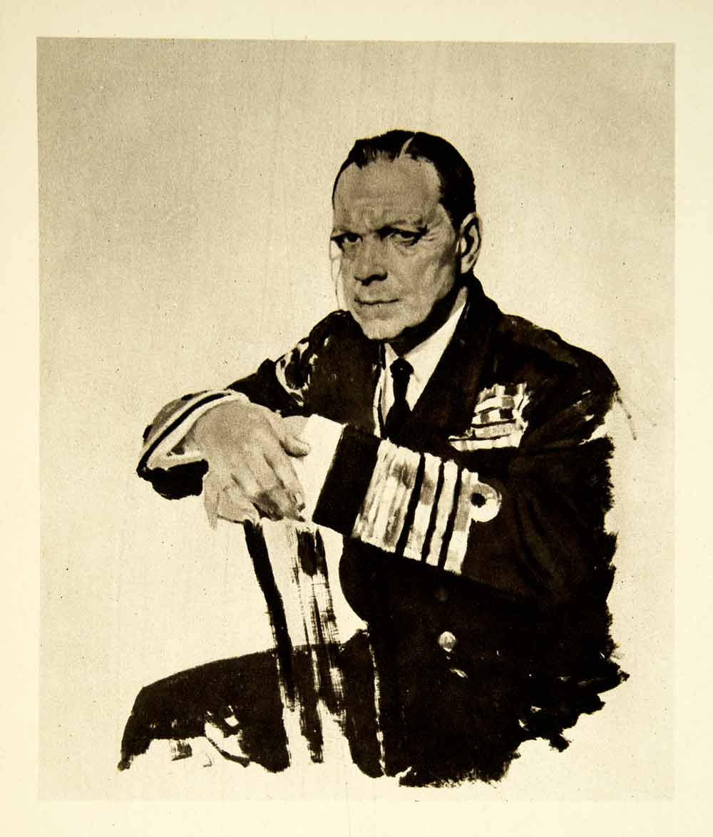 1921 Rotogravure William Orpen Art WWI Portrait Admiral Fleet Lord Wester XAHA8