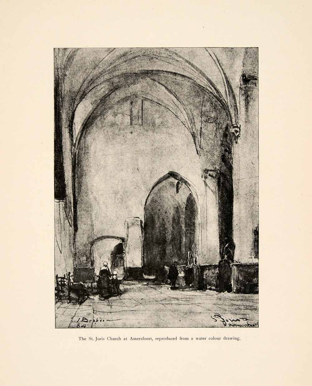 1898 Print Johannes Bosboom Art St. Joris Church Interior Amersfoort XAI8