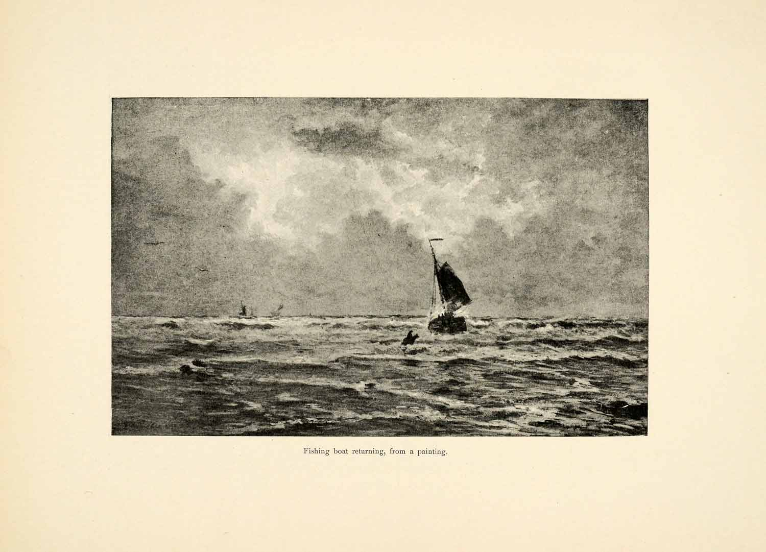 1899 Print Fishing Boat Returning Home Ocean Dutch Henry William Mesdag XAI9