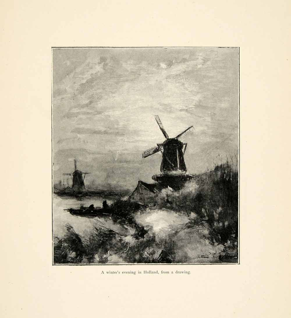 1899 Print Windmill Holland Winter Evening Drawing Dutch Lodewijk Apol XAI9