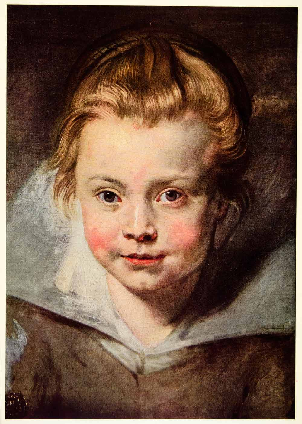 1950 Color Print Head Child Baby Peter Paul Rubens