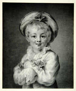 1950 Rotogravure Fair Haired Child Portrait Boy Jean Honore Fragonard Hat XAIA1