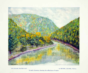 1956 Print Michel Jacobs Delaware Water Gap Landscape River Mountains XAIA3