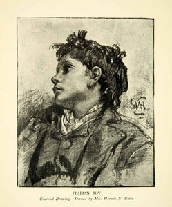 1923 Print Italian Boy William Morris Hunt Child Sketch Study Youth XAIA5
