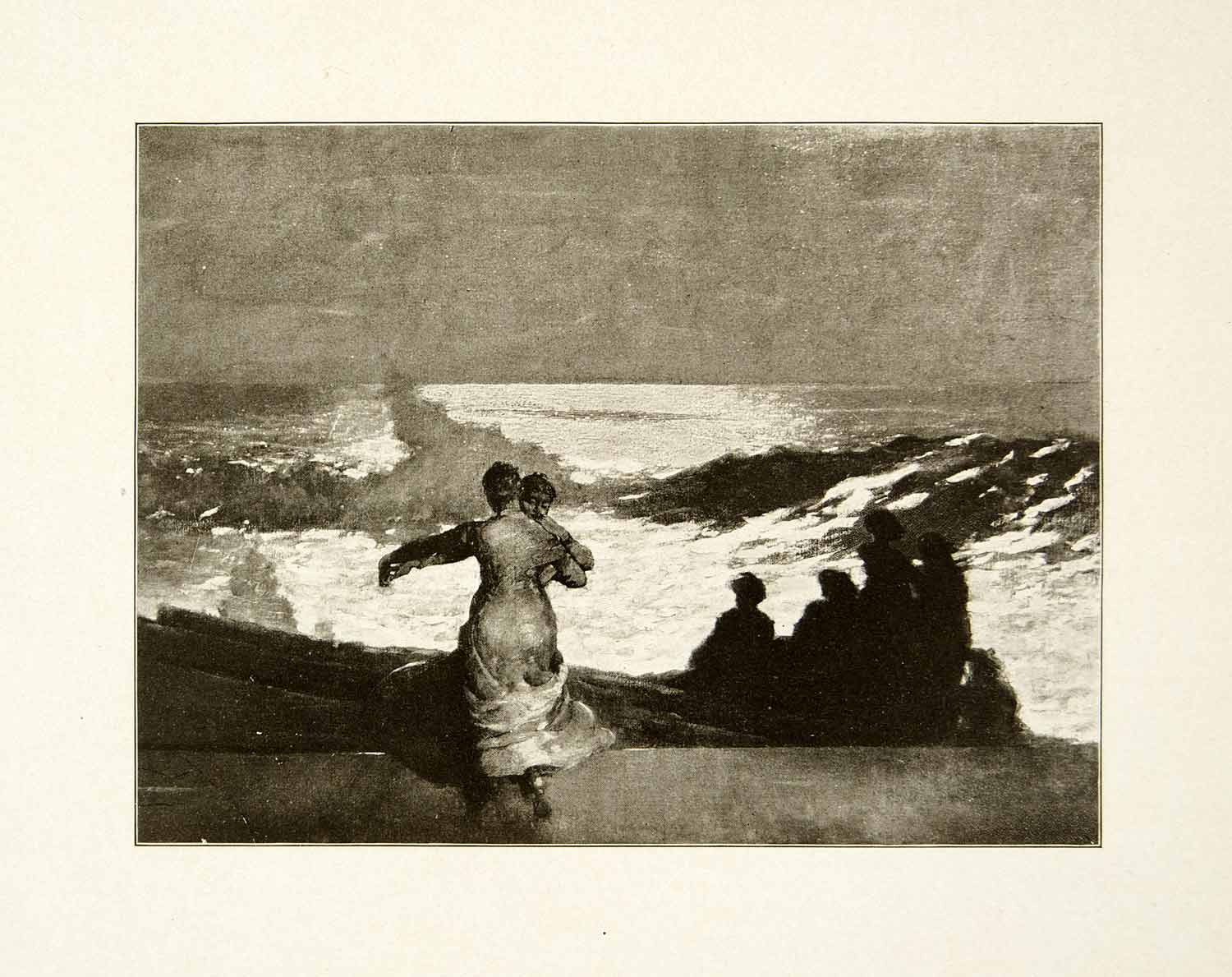 1911 Print Summer Night New England Winslow Homer Coast Shore Silhouette XAIA7