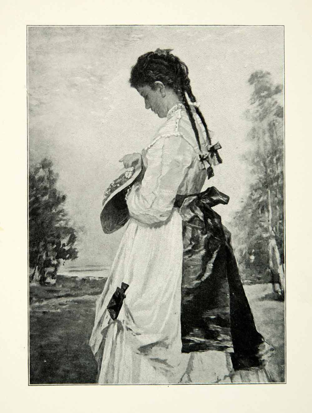 1900 Print New Marguerite William Morris Hunt Pigtails Portrait Costume XAIA8