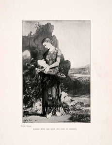 1903 Print Woman Portrait Orpheus Lyre Head Landscape Maiden Mythology XAJ7