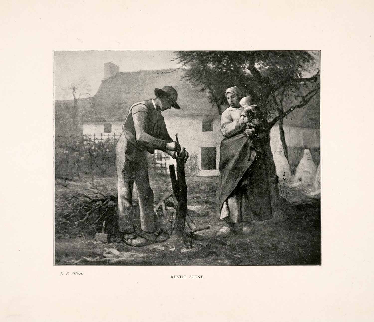 1903 Print Rustic Scene Portrait Chop Wood Servant Child Landscape France XAJ7