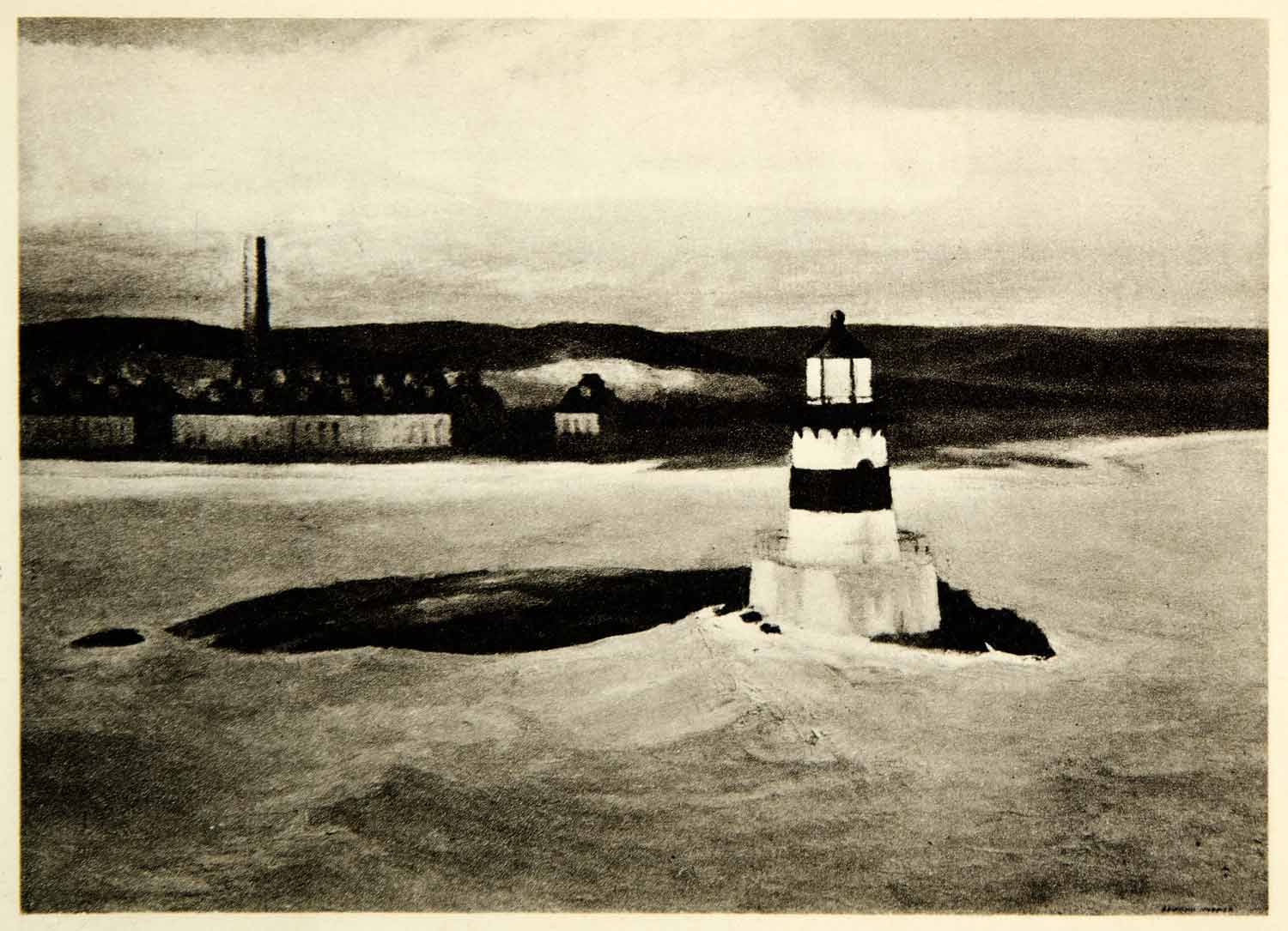 1945 Rotogravure Shoreline Coast Lighthouse 5 AM Light Sea Ocean Edward XAJA2