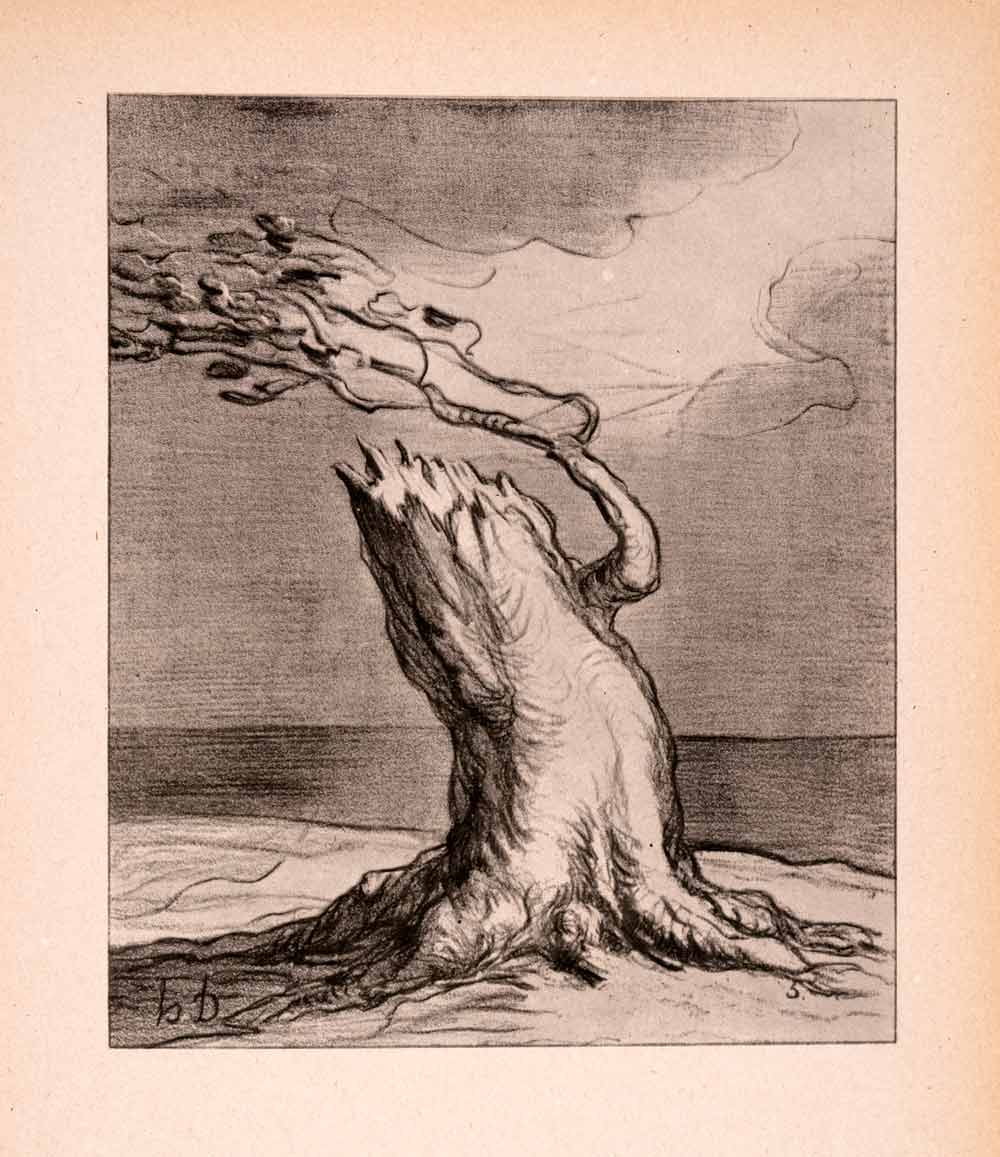 1946 Print Honore Daumier Poor France Tree Trunk French Satirist
