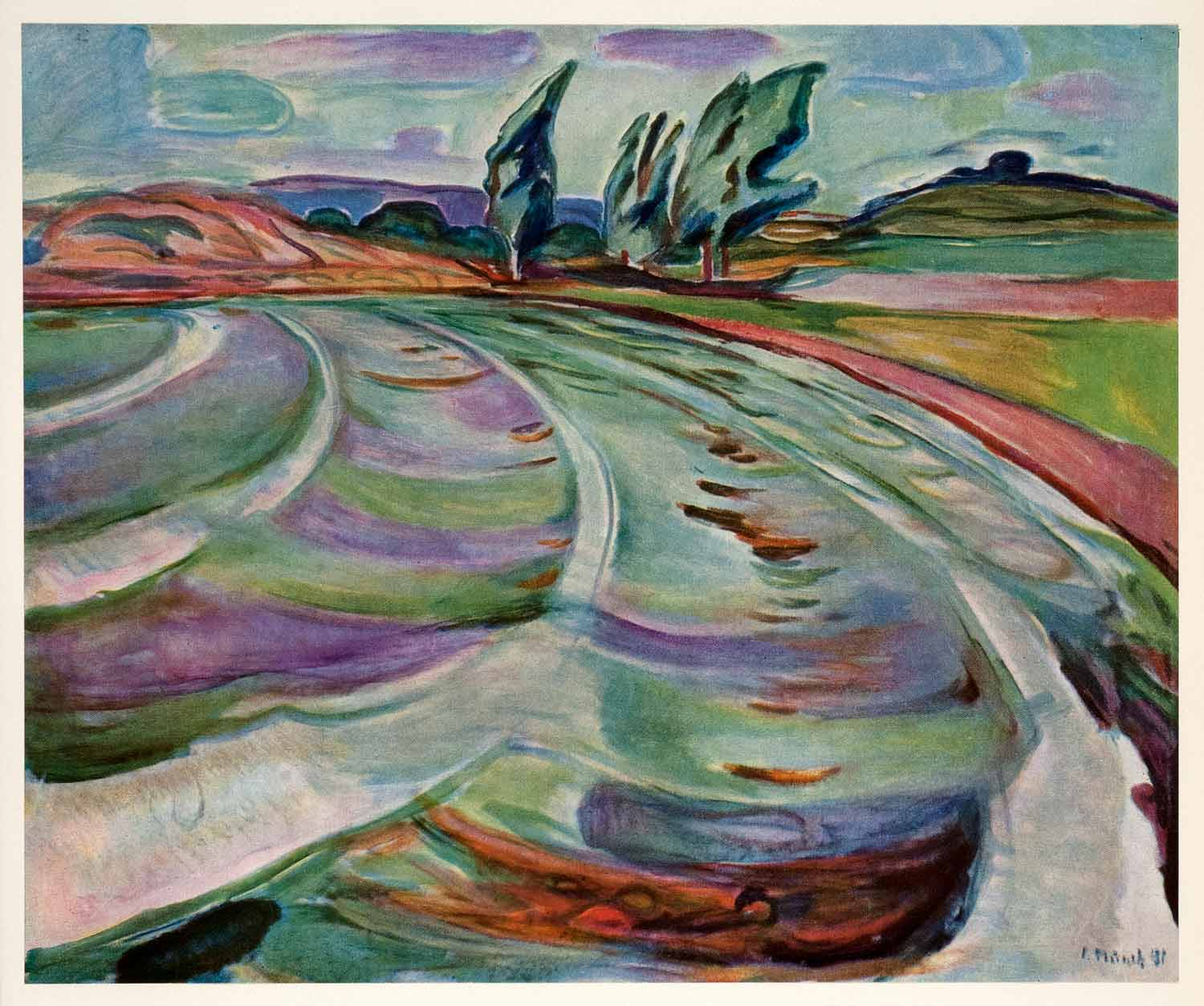 1958 Tipped-In Print Edvard Munch Beating Waves Symbolist Color Landscape Art