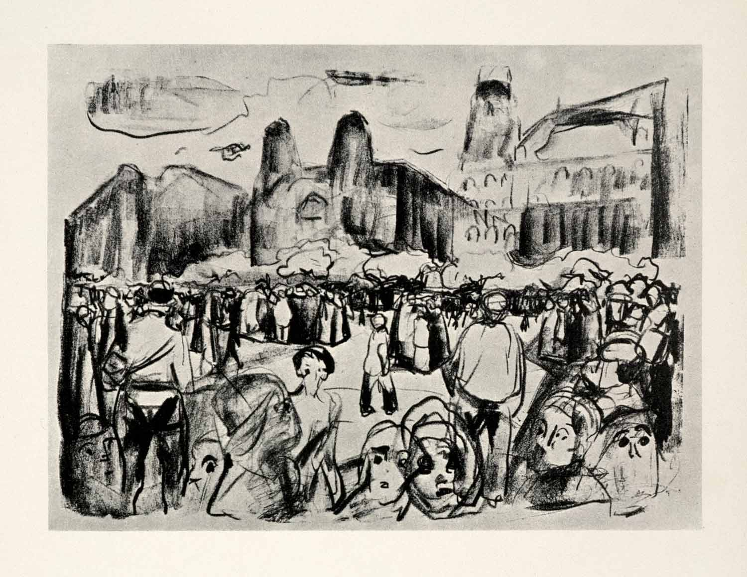 1958 Print Edvard Munch Rioting Frankfurt Railway Square Symbolist  Art Graphic