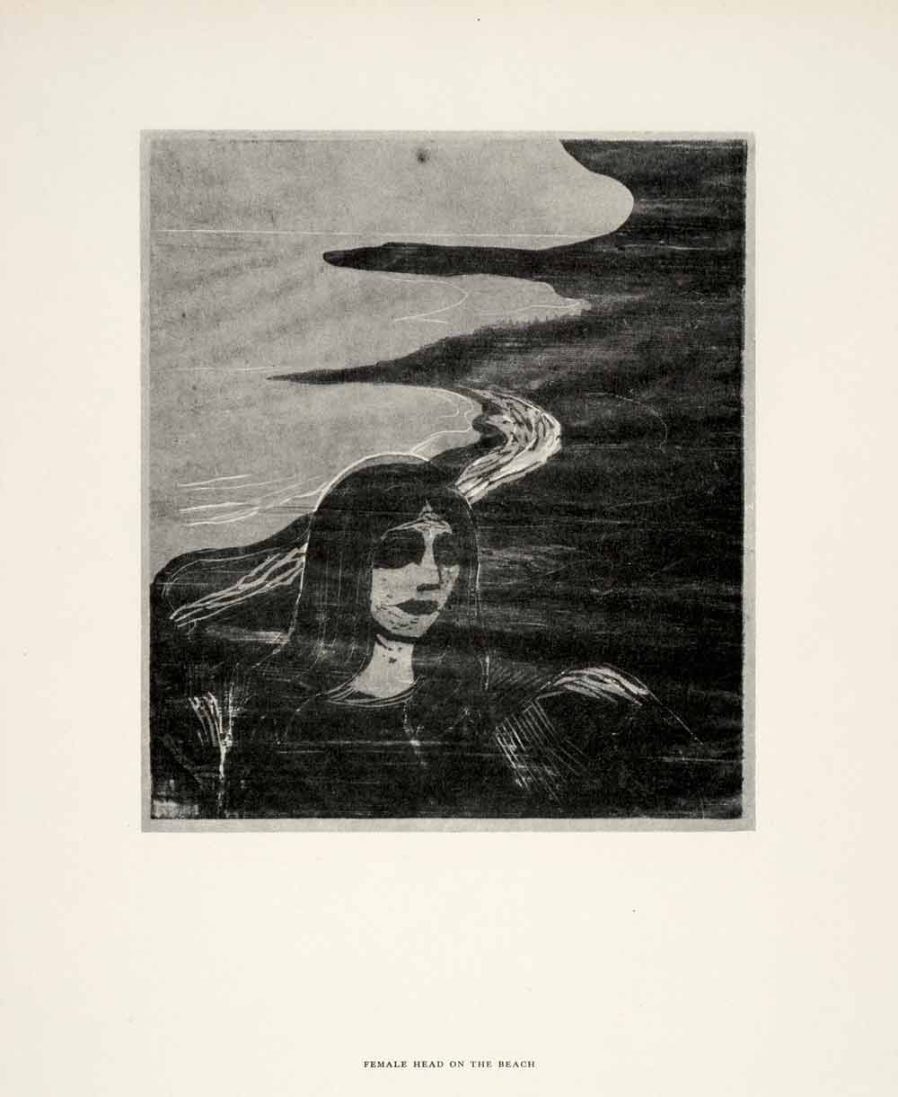 1958 Print Edvard Munch Female Head Beach Symbolist Expressionist Color Graphic
