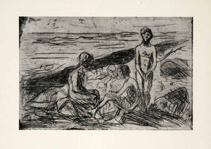 1958 Print Edvard Munch Naked Boy Beach Symbolist Expressionist Graphic Bold Art