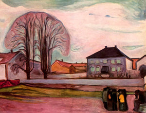 1957 Tipped-In Print Edvard Munch Expressionism House Shore Tree Pink Colorful