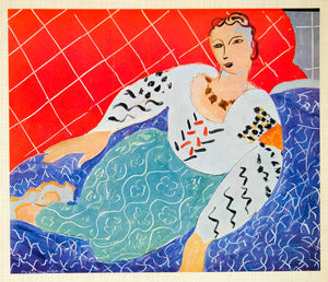 1958 Print Reclining Figure Woman Persane Henri Matisse Dress Costume Persian