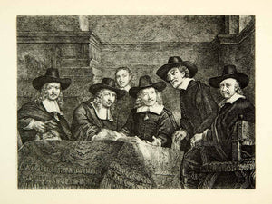 1878 Photogravure Rembrandt Art Syndics Drapers Guild Sampling Official XAKA9