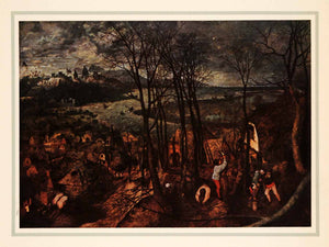 1937 Tipped-In Print Flemish Painter Pieter Brueghel Stormy Day Landscape XAL5