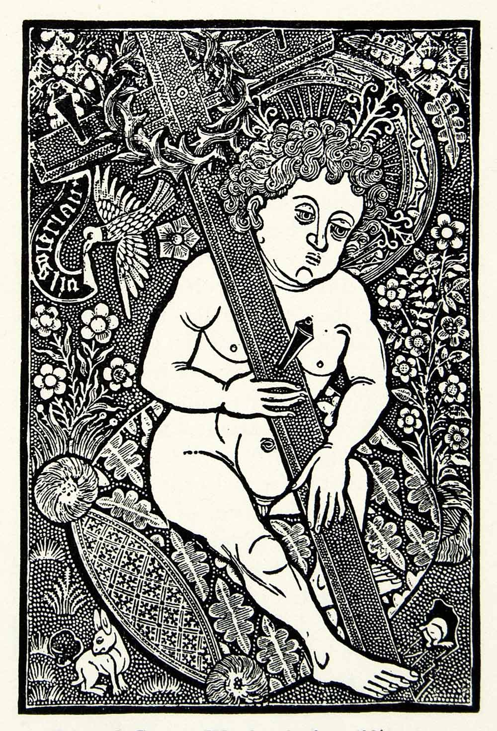 1925 Print Medieval Woodcut Illustration Naked Angel Cross Dove Religious XALA4