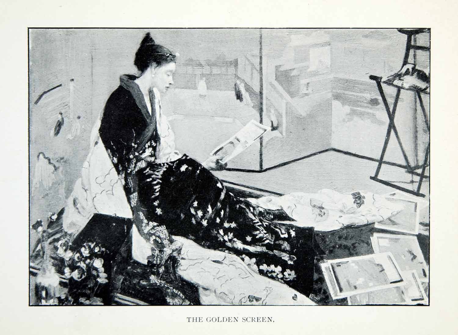 1904 Print Golden Screen James McNeill Whistler Asian Portrait Woman XALA5