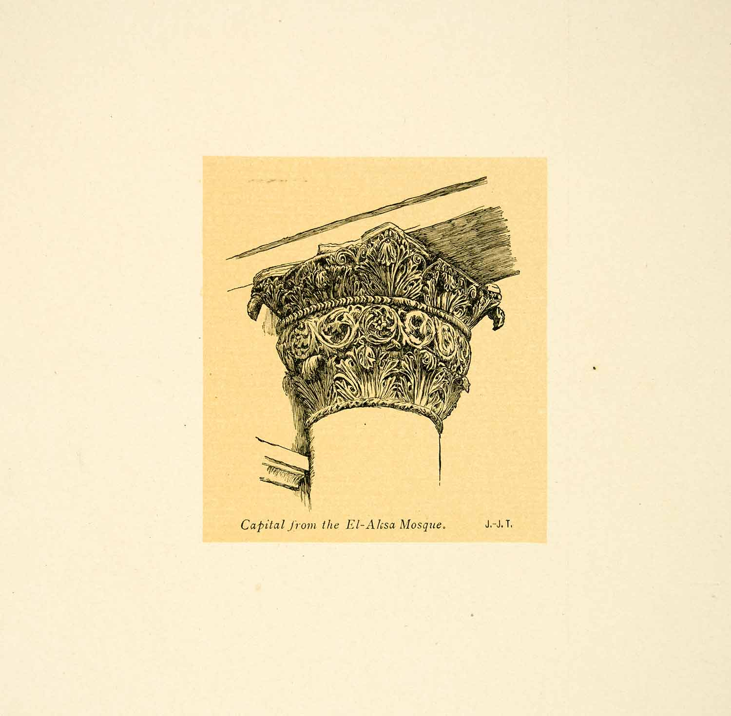 1899 Print James Tissot Art Corinthian Column Capital AlAqsa Mosque XAMA2