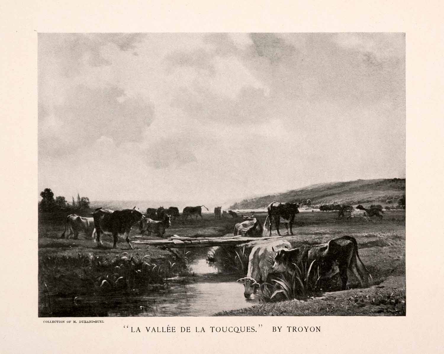 1896 Halftone Print Troyon Vallee Valley Toucques Cattle Pasture Grazing XAN9
