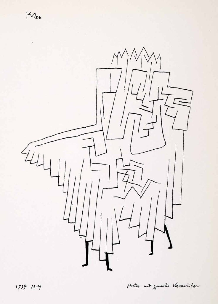 1969 Print Paul Klee First Second Masked Figures Abstract