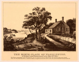 1942 Print Currier Ives George Washington Birthplace Bridges Creek Virginia XAO9