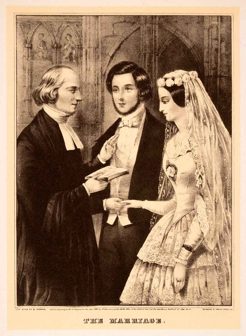 1942 Print Currier Ives Marriage Victorian Wedding Bride Groom Priest Gown XAO9