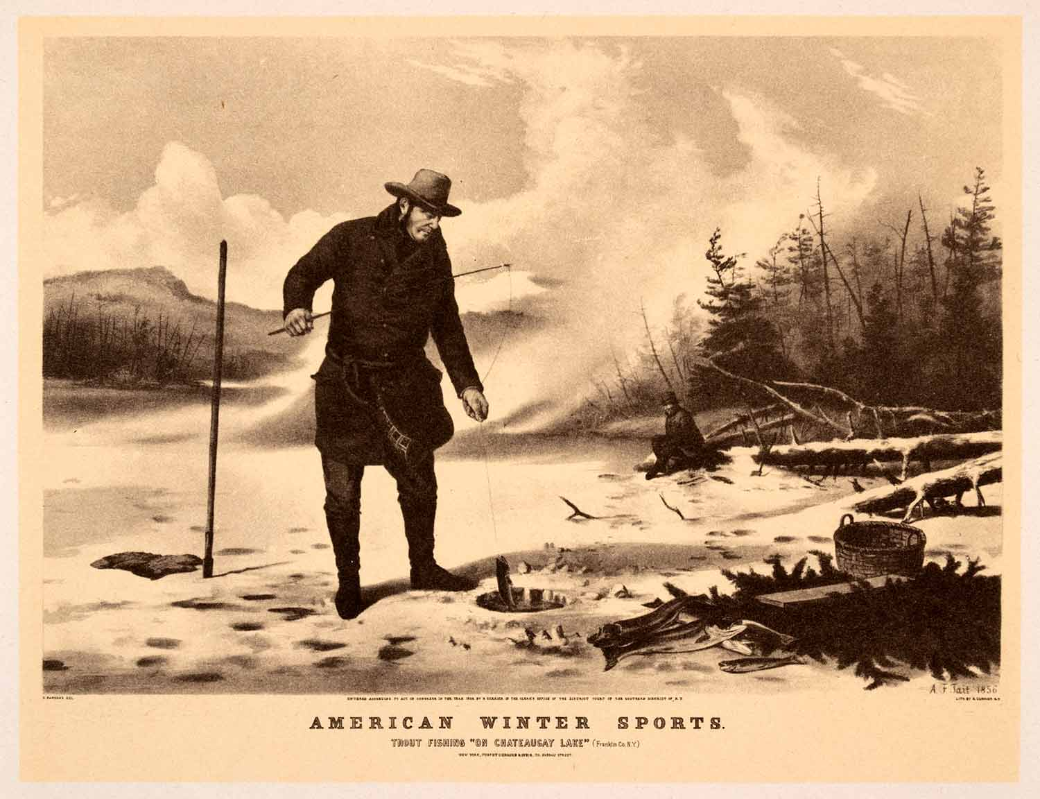 1942 Print Currier Ives American Winter Sport Trout Fishing Chateaugay Lake XAO9