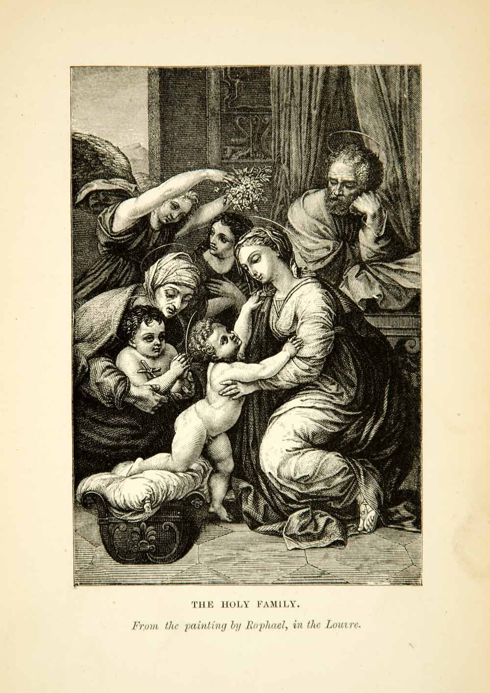 1880 Wood Engraving Raphael Holy Family Francis I Renaissance Art Angels XAOA4