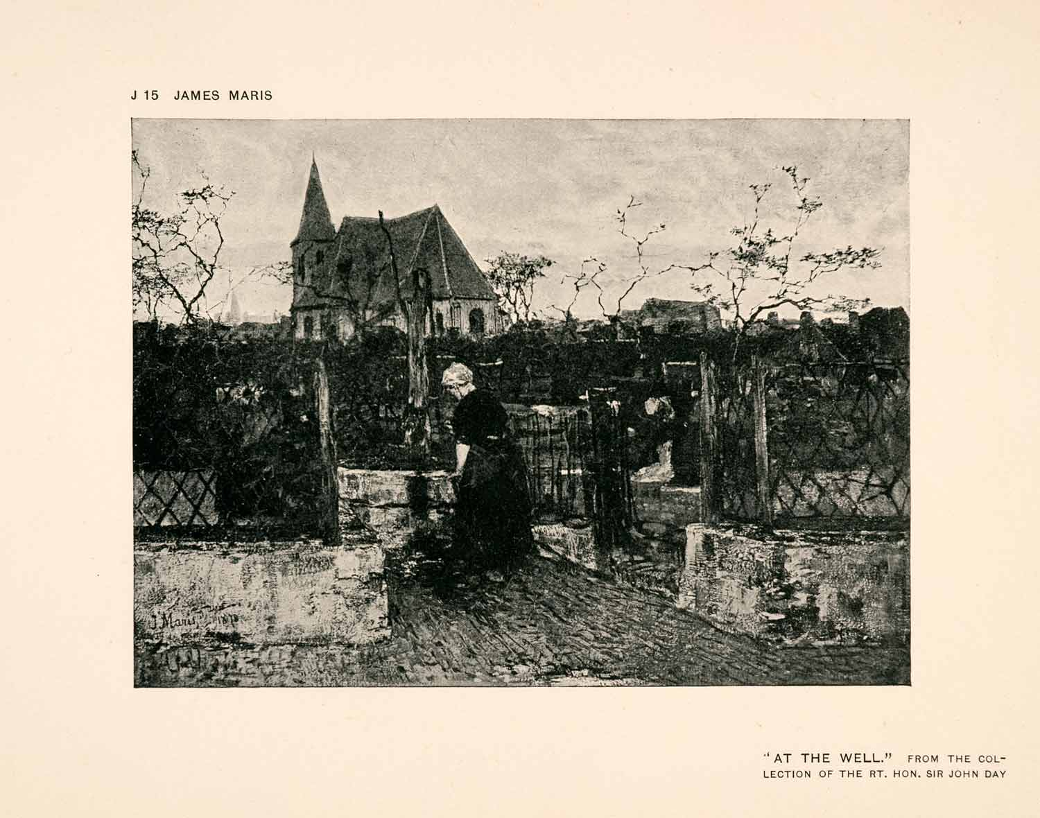 1907 Halftone Print Well Woman Church Garden Netherlands Dutch Art XAP7