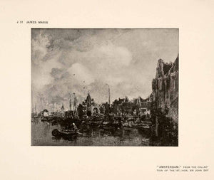1907 Halftone Print Amsterdam Holland City Boat Coast Docks Harbour Dutch XAP7