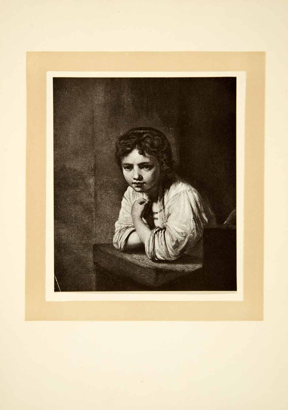 1910 Print Rembrandt Van Rijn Baroque Art Peasant Young Girl Windowsill XAPA6
