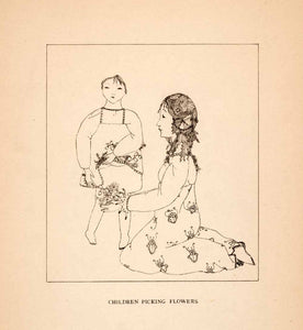 1919 Lithograph Pamela Bianco Children Flowers Mother Madonna Decorative XAQ1