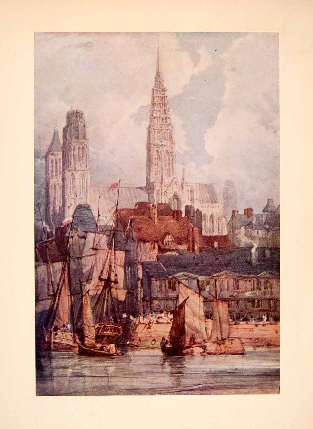 1929 Print Cathedrale de Nortre Dame Rouen France Port Richard Parkes XAT1