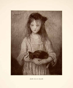 1922 Print Julian Alden Weir Little Lizzie Lynch Portrait Kitten XAT3